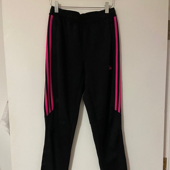 Adidas pants with pink stripes
